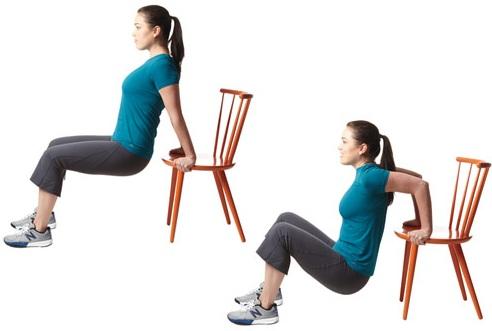 כפיפות מרפקים על כסא